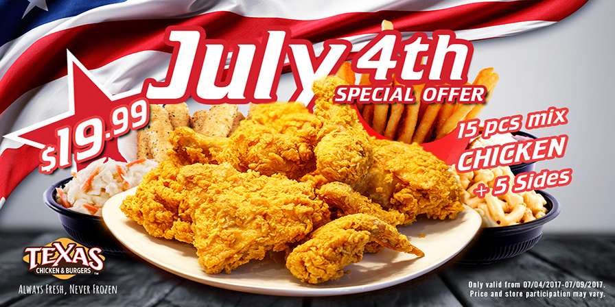 Texas Chicken And Burgers 4th of july special
