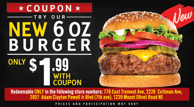 New 60 Oz Burger Special with Coupn