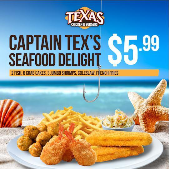 $5.99 Captain Tex's Seafood Delight